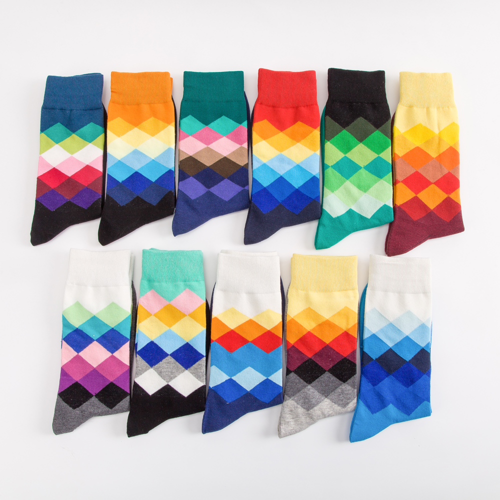 Jhouson 1 Pair Classic Men's Combed Cotton Colorful Happy Funny Socks Diamond Geometric Pattern Causal Dress Business Socks