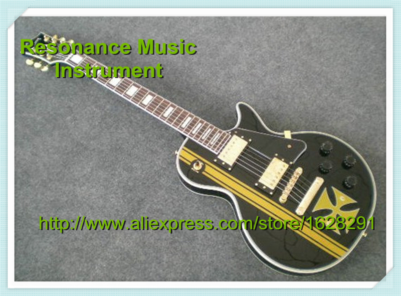 Custom Shop LP Metallica James Hetfield Guitar Iron Cross Logo In Stock For Sale esp custom shop sun flames inlay james hetfield jh2 signature guitar ken lawrence explorer electric guitar