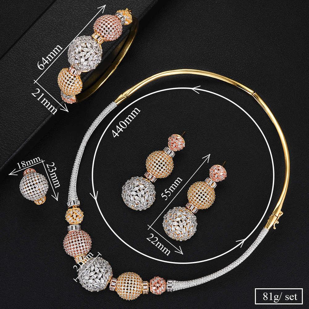 Missvikki Super Handgemachte Edle Voll Mini CZ Halskette + Armband + Ohrringe + Ring Schmuck-Set für Braut Hochzeit Superstar zeigen Schmuck