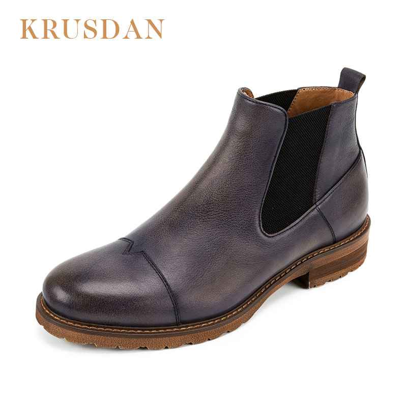 49d42209b8 KRUSDAN Brand Spring/Autumn Fashion cowhide Men's Chelsea Boots,British  Style Fashion Ankle Boots Genuine leather Casual Shoe