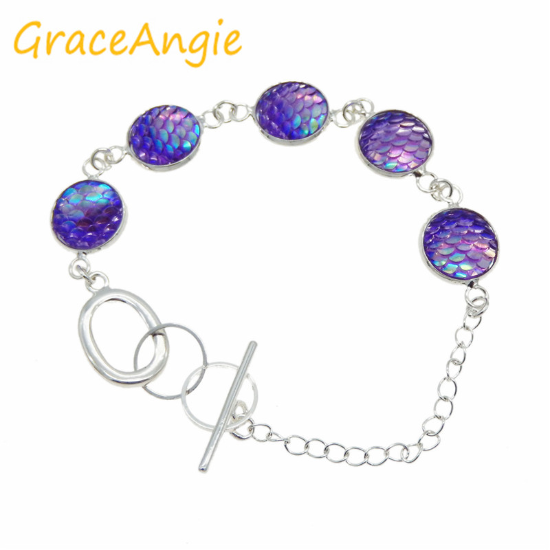 GraceAngie 1set/pack 12mm Mermaid Jewelry Set Neclace Bracelet Earring Stud Elegant and Romantic Style Present