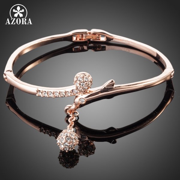 AZORA Rose Gold Color Full Stellux Østerriksk Crystal Round Anheng Bangle Armbånd TB0012