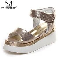 2017 Nova Plataforma Mulheres Sandals Gold & Sliver Mulheres Gladiator Sandals Moda Gancho Loop Wedge Shoes Mulher Tamanho 35 ~ 40 XWZ2267