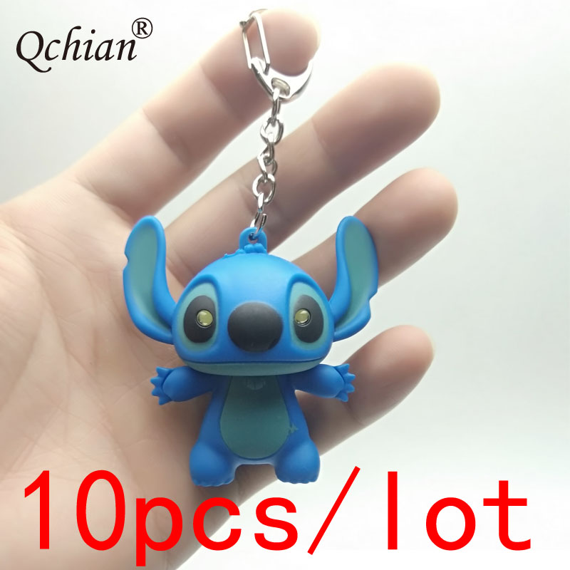 10pcs/lot Led Glowing Sound Plastic Toys Blue Alien Monster Stitch Keychain Car Motorcycle Key Backpack Decoration Pendant Gift