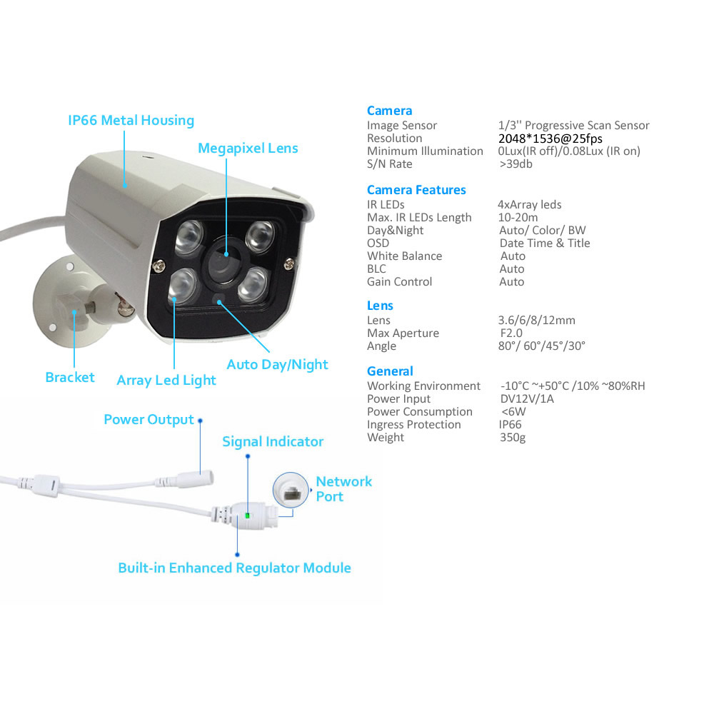 Newest 3MP IP Camera Oudoor Security Camera H.265+ ONVIF Waterproof Cloud Surveillance Camera IR Night Vision CCTV Camera