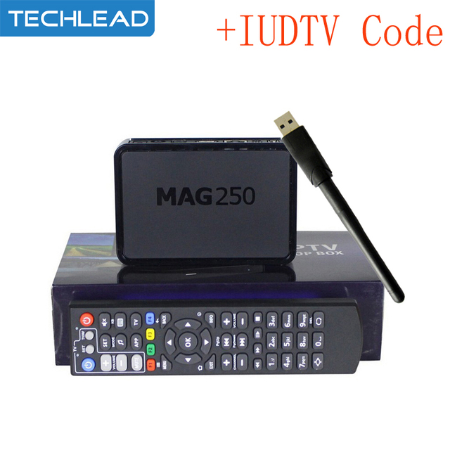 Mag250 TV Box with WIFI USB Adapter +1 Year IUDTV IPTV Account Sweden France IT Albanian UK USA Arabic sports Europe TV code m3u
