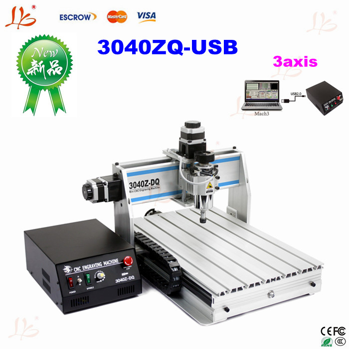 Free shipping 2016 newest USB port  cnc router 3040Z-DQ  cnc cutting machine woodworking  lathe