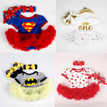 Cotton Baby Girls Clothes Superman Batman Christmas Costume for Newborn Baby First Birthday Party Tutu Sets Infant Baby Clothing newborn baby girls christmas costume tutu dress my first christmas baby clothes set headband xmas socks new born baby clothing