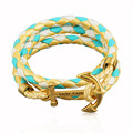2016 Charm Vintage Anchor Bangle Multilayer Braided Colours Leather Bracelets For Women Gold Pated Jewelry Christmas Gift