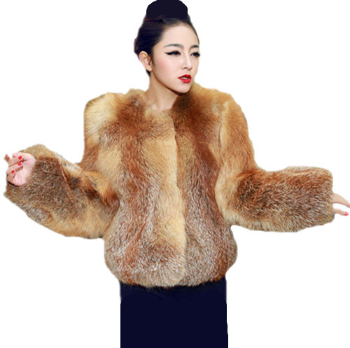 Luxury The Whole Skin Genuine Red Fox Fur Coat For Women Fox ...