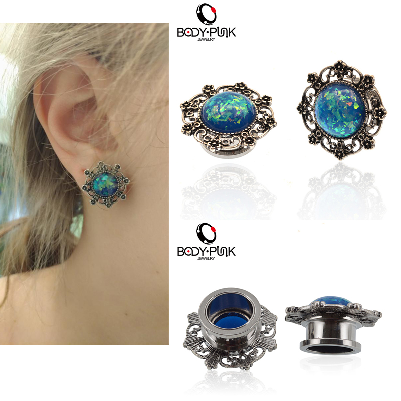BODY PUNK Queen's Plugs Flesh Tunnel Ear Expanders Rostfritt stål Blue Opal Filigra öronproppar Piercing Kroppsmycken 1 par