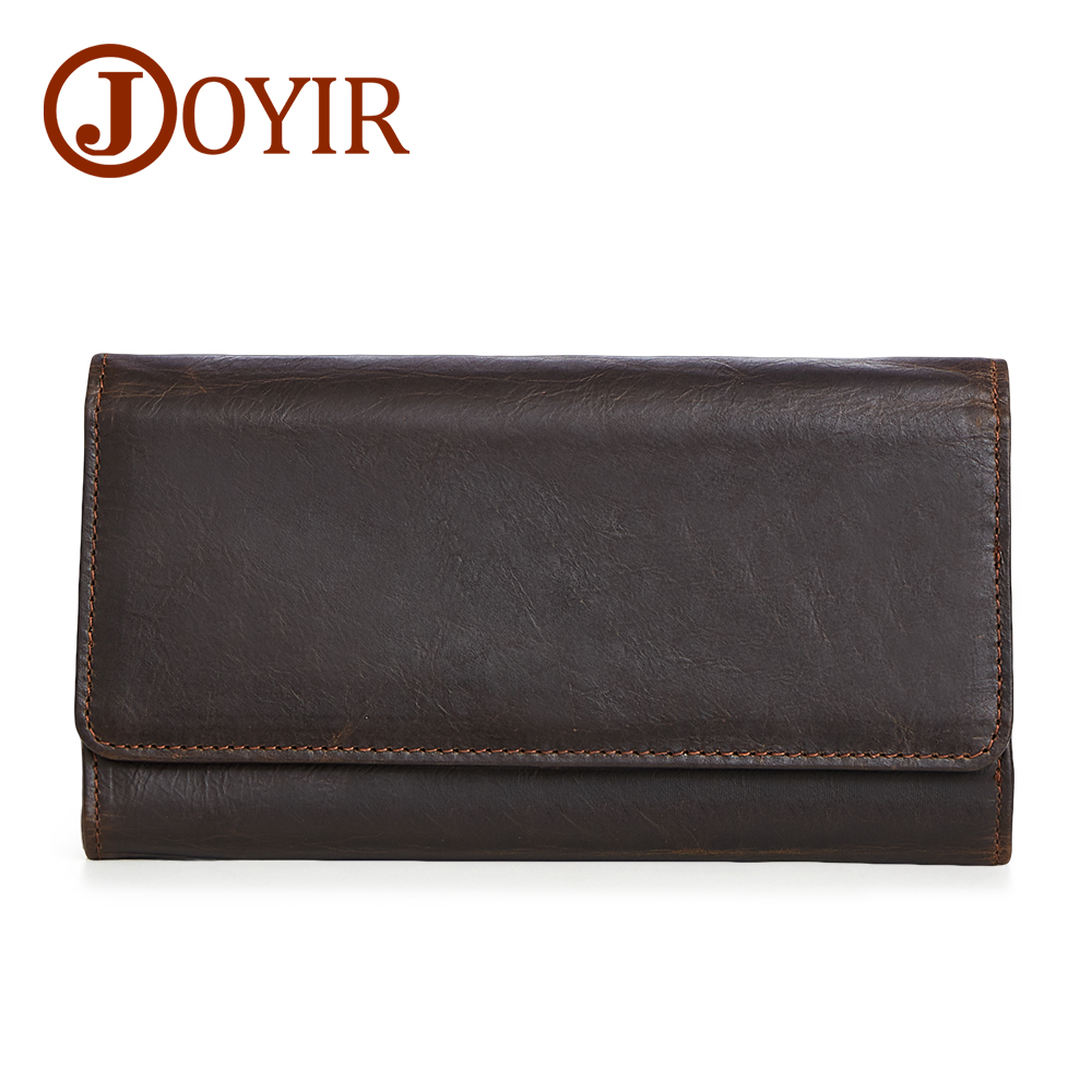 JOYIR Large Capacity Genuine Leather Man Long Wallet Credit Card Holder Clasp Coin Purse Men Wallets Male Clutch 2017 New 2048 puma шапка women bling beanie