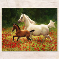 Diamond Embroidery DIY Diamond Painting Cross Stitch Kit Two Horse 5D Needlework Diamond Mosaic Home Decoration