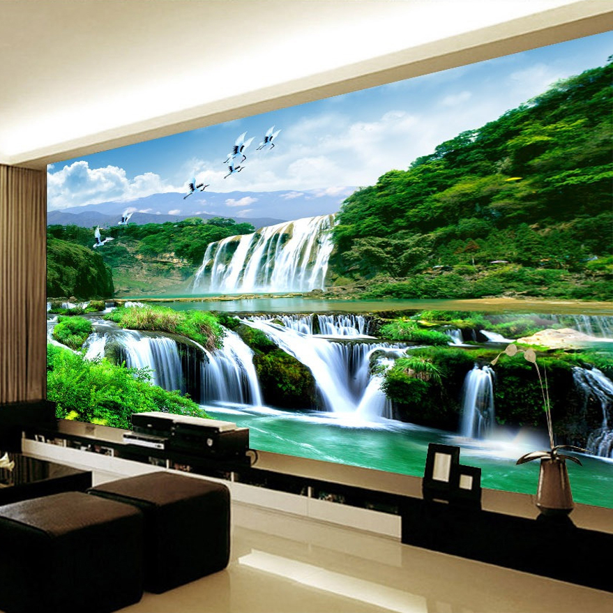 Custom 3d wall murals wallpaper painting hd waterfall for Custom mural wallpaper