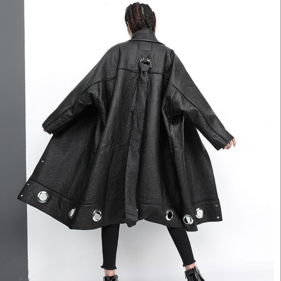 Outwear L1655 Mode Évider Faux Pu vent Mandarin De Femmes Unique Cuir En Veste Poitrine Coupe Hiver Manteau Black Col Ra1AwTq5