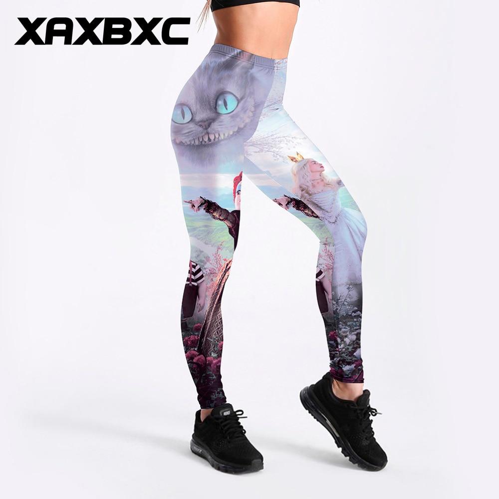 XAXBXC 3185 Sexy Girl Pencil Pant Alice In Wonderland Cheshire Cat Prints Elastic Slim Fitness Workout Women Leggings Plus Size
