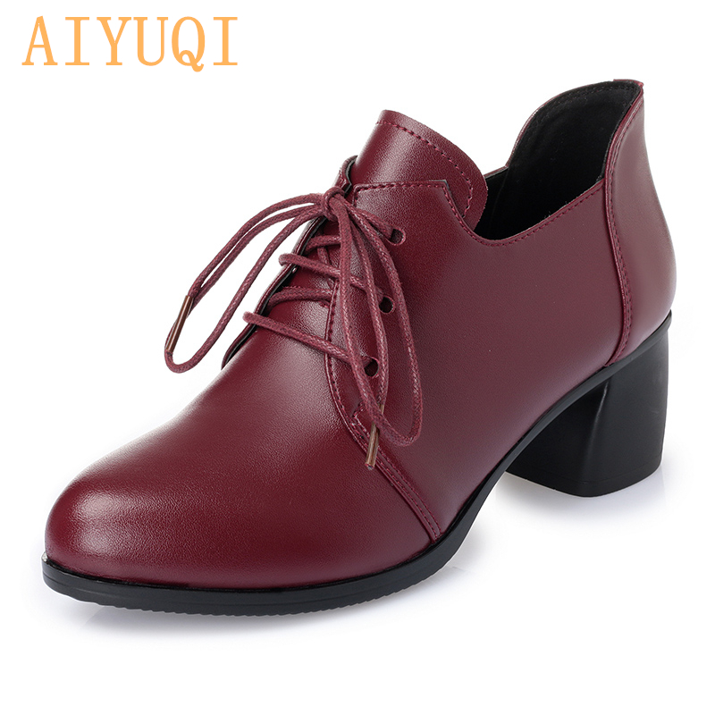 Buy AIYUQI  2019 New Women Genuine leather shoes  Heel Casual Shoes Lace Up Womens Shoes  Retro Brogues Fashion spring femal shoes for only 59.1 USD