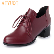 AIYUQI  2019 New Women Genuine leather shoes Heel Casual Shoes Lace Up Womens Retro Brogues Fashion spring femal