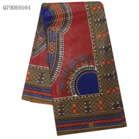 New Arrival Red Blue Ankara Wax Fabric 6 Yards Pcs Plain Weave Design African Wax Fabric