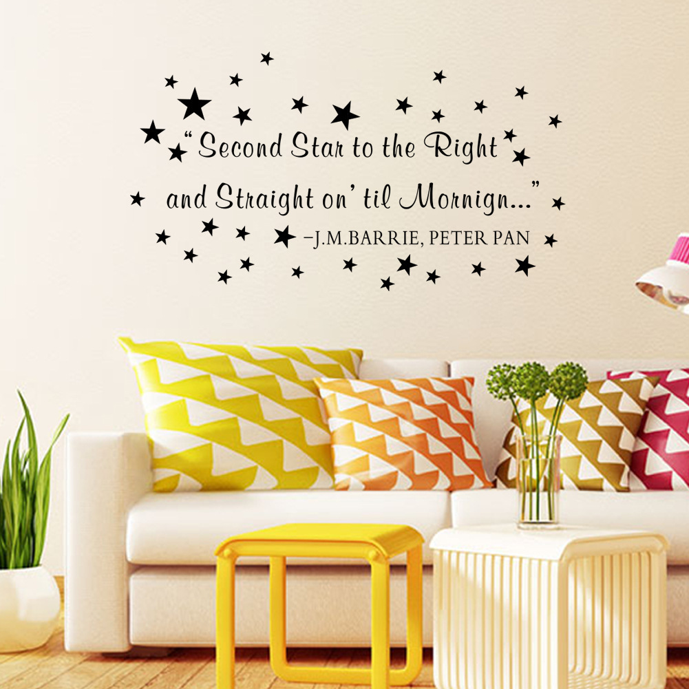 Peter pan wall stickers choice image home wall decoration ideas letter quote wall decal second star to the right and straight on letter quote wall decal amipublicfo Gallery