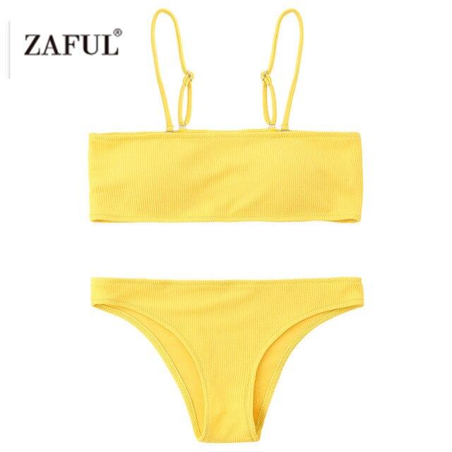 17d1ac5086b16 ZAFUL 2018 NEW Style Rib Texture Bandeau Bikini Set Brazilian Swimwear  Female Bathing Suit Women Sexy