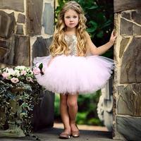 Impresionante Bling oro lentejuelas bebé 1st cumpleaños vestido princesa niña Ballet puffy Tutu vestidos para el té y la fiesta