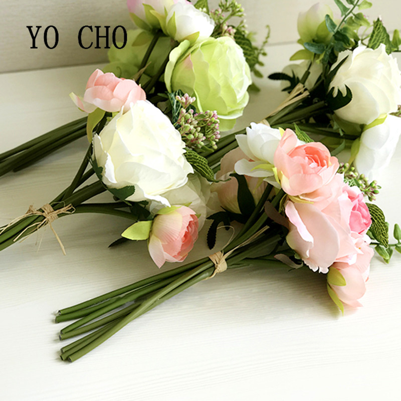 Yo Cho Party Blue Rose Pink Peony Bridesmaid Bouquet Bridal Bouquets Mariage Wedding For Brides Flowers In Artificial Dried