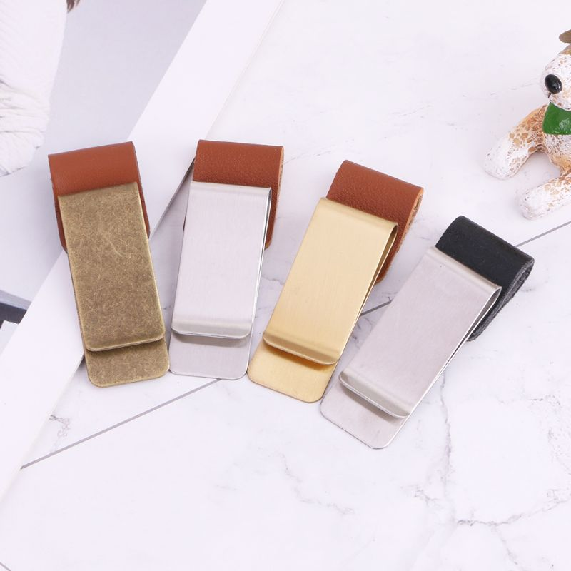 Handmade Leather Stainless Steel Pen Holder Clip Journal Notebook Paper Folder