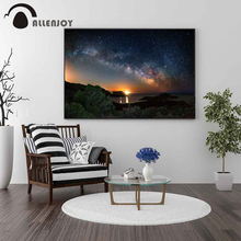 Allenjoy Landscape Wall Art Night Star Sky Lake Tree Posters and Prints Canvas Paintings Nordic Style for Walls Photos