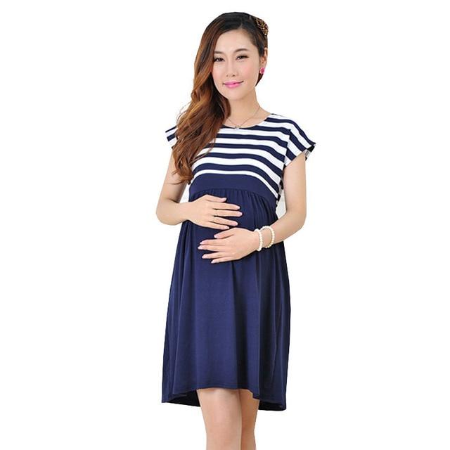 8a0819288 Algodão Maternidade Vestidos Roupas Para Grávidas Roupas Femininas Gravidez  Casual Manga Curta Vestido Gestante Ropa Materna