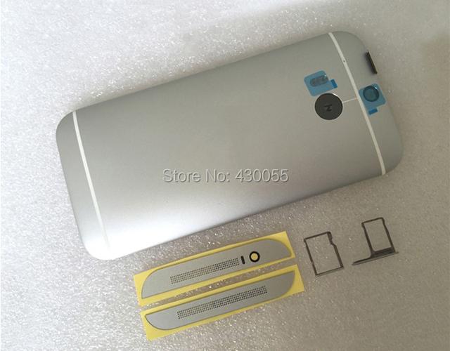 Prata new para htc one m8 caso habitação tampa traseira porta da bateria com o sim/tf card tray + botões + top & tampa de alumínio inferior