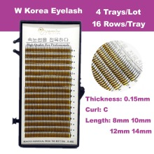 4 Tray/Lot Free Shipping W Eyelash Extension 0.15 Thickness 8 10 12 14mm Mink False Eyelash Korea Eye Lash Makeup Tools