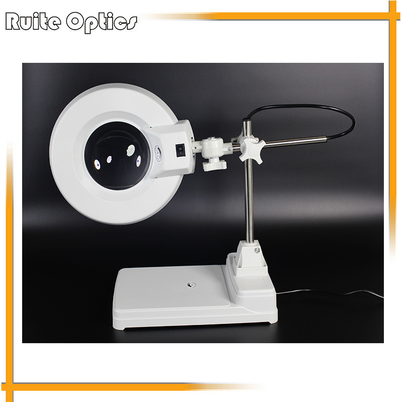 220V 20X Desktop White Optical Glass Magnifying Glass Fluorescent Lamp Light Magnifier For PCB Precision Parts Inspection 220v 20x clip on large magnifying glass lamp magnifier with white optical glass folding stand for pcb precision parts inspection