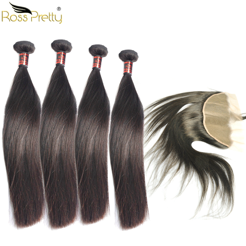 Ross Pretty Hair Brazilian Straight Hair 4Bundles With Frontal Pre Plucked Baby Hair Quality Remy Human Hair Wholesale