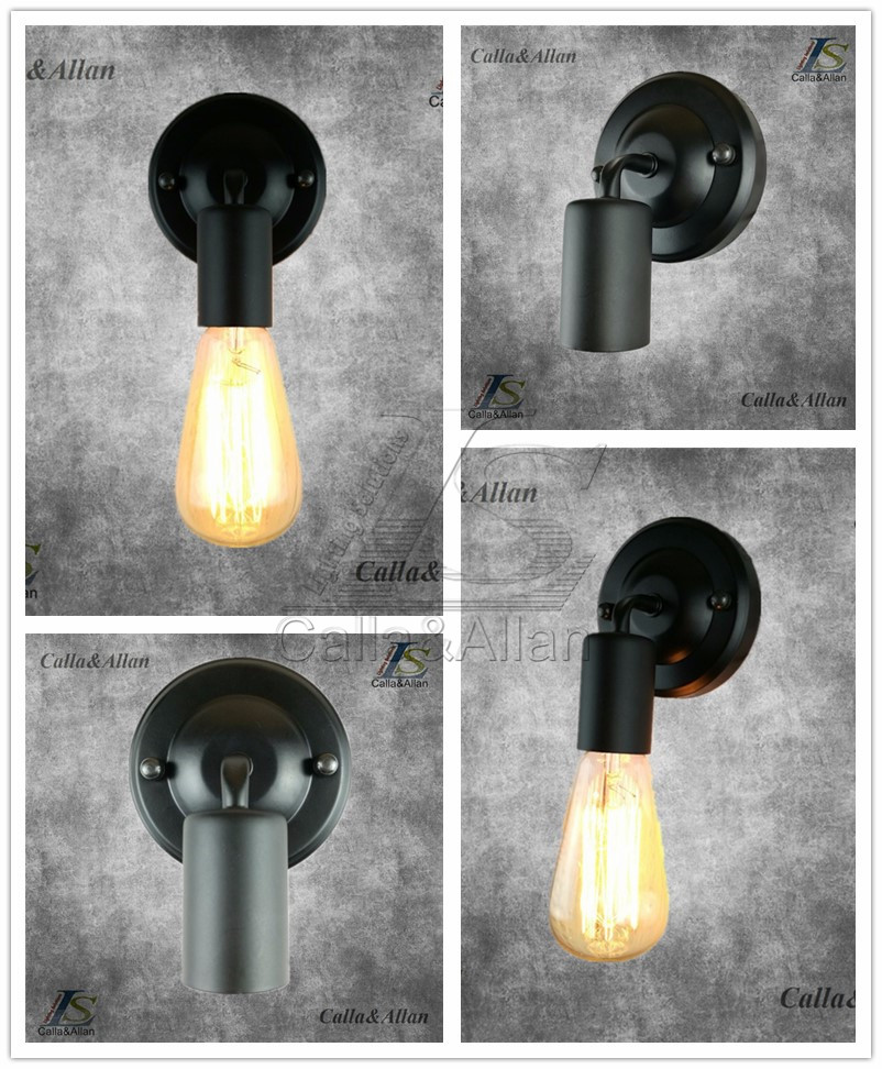 Free shipping black DIY Wall light fixture E27 plated Loft american retro vintage iron wall l& 90V 240V 40W Antique l&-in Wall L&s from Lights ... : diy wall lighting - www.canuckmediamonitor.org
