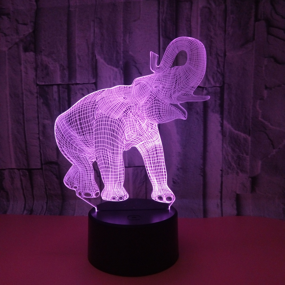 Elephant 7 Color Changing Lamp 3D Animal Visual Led Night Lights for Kids Touch USB Table Luminaria Baby Sleeping Night Light