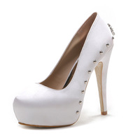 Pump women shoes new fine with round head pump high heeled rivet shoes shallow mouth wedding shoes sexy nightclub pumps size 43