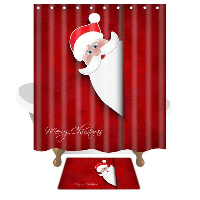 Christmas Waterproof Polyester Bathroom Shower Curtain And Xmas Mat Decor 96