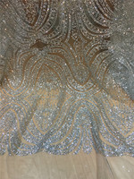 Silver And Gold Colors African French Lace Fabric High Quality African Tulle Lace Fabric With Glitter