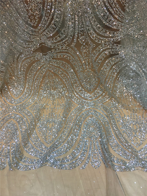 Silver and gold colors African French Lace Fabric High Quality African Tulle Lace Fabric with glitter sequins lace fabric