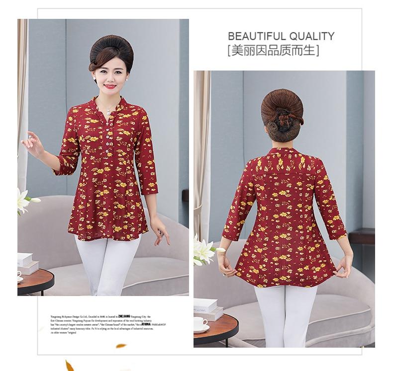 Women Flower Chiffon Blouses Three Quarter Sleeve Crepe Top Woman Peplum Tunic Red Green Print Shirt Plus Size Blouse Lady Shirt Spring (5)