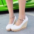 Sapatos de plataforma Mulheres Bombas 2016 Primavera E No Outono Confortável cunhas Doces Sapatos de salto azul branco rosa Sapatas Das Mulheres