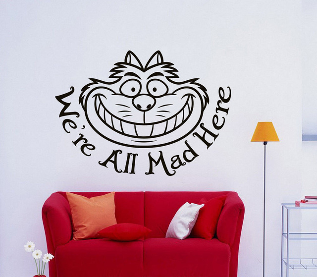 Cheshire Cat Smile Quote Wall Art Stickers Wall Decal Home DIY Decoration  Removable Room Decor Wall Part 63