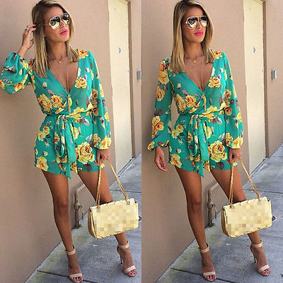 Hirigin Ladies Sexy Casual Floral Playsuit Bodycon Party Long Sleeve Deep V Neck Floral Jumpsuit Romper