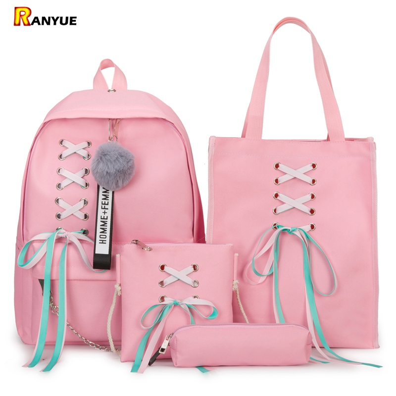 590f077c2c 4Pcs Set Ribbon Chain Bowknot Letter Mochila Canvas Backpack Travel  Rucksacks Leisure Backpacks For Teenage Girls School Bagpack