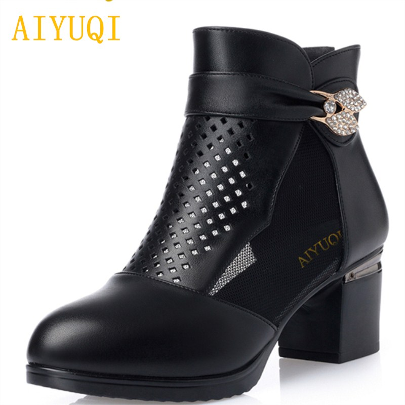 Aiyuqi 2019 New Genuine Leather Women High Heel Sandals Fish Mouth Sweet Brand Hollow Mesh Summer Platform Shoes Women Be Shrewd In Money Matters Shoes