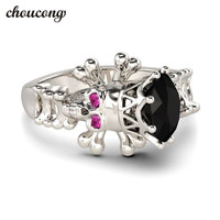 Choucong Fashion Skull Ring Women Punk Jewelry Black 5A Zircon Cz White Gold Filled Birthstone Wedding