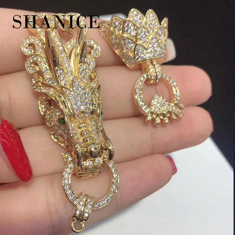 SHANICE Diy Jewelry Findings Zircon Dragon Clasps For Bracelets Necklaces Connector Charm Copper Animal Micro Pave Jewelry брелок silver angel 120pcs diy 14x22mm a428 fit slide bracelets necklaces jewelry findings