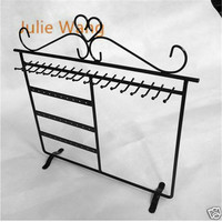Julie Wang 1PCS Fashion Black Iron 30Holes Jewelry Display Charm Earring Necklace Showing Shelf Stand Holder