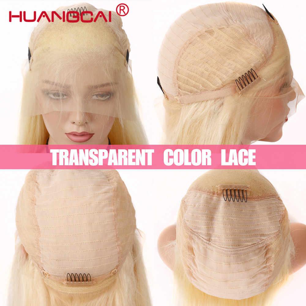 Pelucas de pelo humano frontales de encaje Rubio sin pegamento #613 peluca frontal de encaje recto brasileño Pre desplumado Rubio Remy 13*4 pelucas de encaje